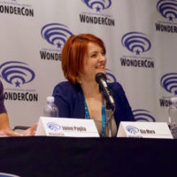 Gia Mora moderates a panel on science in Hollywood at Wondercon 2016.