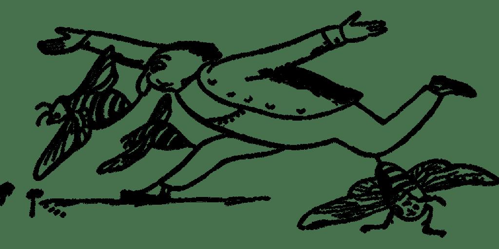 Victorian cartoon of bees stinging a man